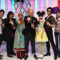 Regional focus: 'Asia Versus,' filmed in Tokyo, is a musical-competition show that scours Asia for new talent and features (from left to right) Hwang Sei Joon (Korean judge), Lala Z Hamid (Indonesian judge), Prieka Khusnul Khatima (assistant MC), Jeff Miyahara (main MC), Nanshih Lin (assistant MC), Gackt (Japanese judge) and Tso Anan (Taiwanese judge). | VERSUS ASIA