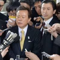 Mouthing off: When Tokyo Governor Naoki Inose (center) made controversial comments to the New York Times regarding Istanbul's Olympic bid he went largely unchallenged by local media. | KYODO