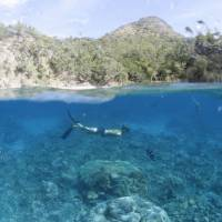 While a snorkeler swims in the island's crystal-clear waters.