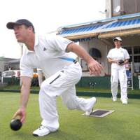 Go: World-championship-bound Buddy Ferrie launches a bowl.
