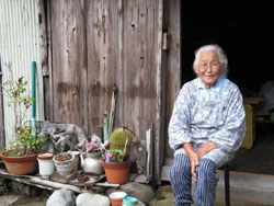 At ease: Yasuko Fukuyama, 83, at home in the hamlet of Nigura. Her children want her to join them in Nagano, but she insists she's not lonely, and says, 'I like it here — the country and the mountains.'   WINIFRED BIRD