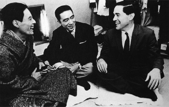 Backstage pass: Donald Keene with Yukio Mishima (center) and actor Hiroshi Akutagawa (left) after a staging of Mishima's play 'Black Lizard' in Tokyo in 1962. | FROM 'CHRONICLES OF MY LIFE'