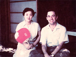 Kyoto lodging: Keene sits on the veranda of the cottage he stayed at in Kyoto, with Mrs. Okumura, the house owner, in 1954. | FROM THE BOOK