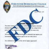 Ballot watch: Moses Ssentamu's Forum for Democratic Change polling agent accreditation for the 2006 general election in Uganda. | COURTESY OF MOSES SSENTAMU