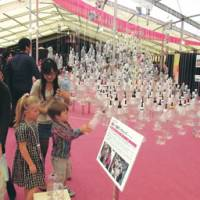 An exhibit shows off the fruits of Tohoku children's workshops.