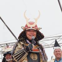 Walk this way: The Nagoya Walkathon — International Charity Festival features more than just walking.   Nagoya Mayor Takashi Kawamura partakes in some costumed fun at a previous installment of the event. | ANDY BOONE