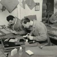 Craftsmen at Gucci's Florence workshop during the 1940s.