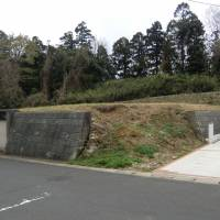 Groundwork: Land for sale atop a hill, revealing an open section of its retaining wall.   PHILIP BRASOR