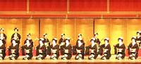 Striking sight: A large group of women from the Gion community in Kyoto perform the traditional program-concluding rite of clapping together small wooden hyoshigi. | NHK ENTERPRISES/HAYASHI PHOTO