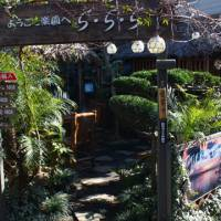 Magic garden: Cafe Ra-Ra-Ra offers tropical drinks, beer and fancy toast concoctions at the foot of Fourth Slope, below the Hayashi Fumiko Memorial Hall. | KIT NAGAMURA PHOTOS