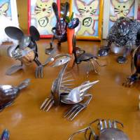 Animal-ations: Fork-clawed crabs and steel-woolly sheep are among the quirky creations crafted by Hiromi Matsubara at the Spoon Art Gallery and Cafe in Hotaka, Azumino. | WINIFRED BIRD PHOTO