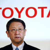 Team player:  Toyota President Akio  Toyoda announces the firm's earnings for fiscal 2012 and its forecast for the current year at a news conference in Tokyo on May 8. | BLOOMBERG
