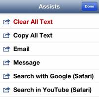 Different 'assists' of DraftPad, a text-editor with a number of useful services.
