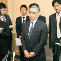 On point: Bank of Japan Gov. Haruhiko Kuroda speaks to reporters Friday in Aylesbury, England, ahead of a meeting of the Group of Seven financial chiefs.  | KYODO