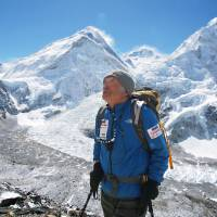 New heights: Renowned Japanese climber Yuichiro Miura, 80, is seen training in late April near his Mount Everest base camp. Miura, with his son and Sherpas, left Thursday in a bid to become the oldest man ever to reach the summit. | MIURA DOLPHINS/KYODO