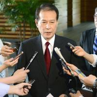 Higher learning: Waseda University President Kaoru Kamata fields questions from reporters Tuesday after the government panel on educational reforms he heads submitted its report to Prime Minister Shinzo Abe. | KYODO