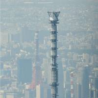On duty: Tokyo Skytree takes over as the primary TV broadcast tower for the Tokyo area Friday. | KYODO