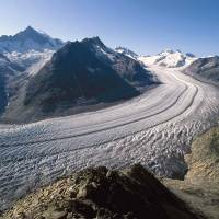 On a slide: Like most other glaciers, the Aletschglacier in Switzerland is shrinking. |  AFP-JIJI