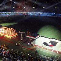 Trip the light fantastic: A lavish ceremony preceded the J. League's opening game at Tokyo's National Stadium. | KYODO