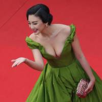Red carpet treatment: Chinese actress Zhang  Yuqi arrives for the screening of 'The Great Gatsby' ahead of the opening of the 66th edition of the Cannes Film Festival in Cannes, southern France,  on  Wednesday. | AFP-JIJI