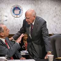 Constructive talks: Senate Judiciary Committee Chairman Patrick Leahy (right) confers with the committee's ranking Republican, Iowa Sen. Chuck Grassley, in Washington on Monday. | AP