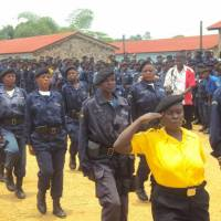 Congolese National Police officers go through training provided by JICA in cooperation with the United Nations. | JICA