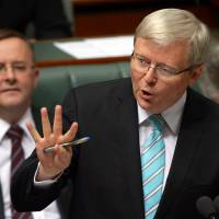Back at the helm: Prime Minister Kevin Rudd speaks in the House of Representatives in Canberra on  Thursday, after being sworn in as Australia's new leader almost three years to the day since he was ruthlessly ousted from the post by Julia Gillard. | AFP-JIJI