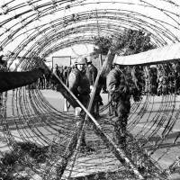 'Barbed wire and U.S. Soldiers'