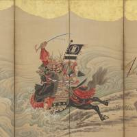 Soga Shohaku's 'Race at the Uji River,' a six-paneled folding screen, 18th century) | THE FEINBERG COLLECTION