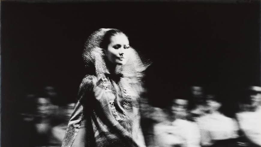 A model on a runway, from Yutaka Takanashi's series 'Towards the city,' published in Provoke No.1 (1968). | THE NATIONAL MUSEUM OF MODERN ART, TOKYO