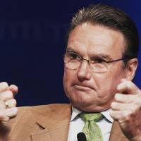 Double-fisted: Jimmy Connors speaks at the annual Milken Institute Global Conference in California on May 1. | BLOOMBERG