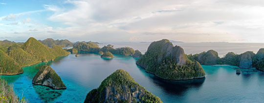 Saved waters: Wayag lagoon on Raja Ampat is the site of a marine protected area declared by the Indonesian government in May 2007.   © C.I. / PHOTOS BY STERLING ZUMBRUNN