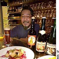 At Les Hydropathes, overseen by Nobuyuki Takaishi (above), the quality of the cuisine matches the well-crafted taste of its Belgium beer.