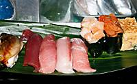 The top-of-the-line course at Sushi-bun features premium seafood, including three grades of tuna, at market workers' prices.