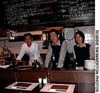 At Les Vinum, in Nishi-Azabu, owner-manager Makoto Tokuhara (center) selects the wine and chef Haruo Nojiri (left) oversees the charcoal grill.