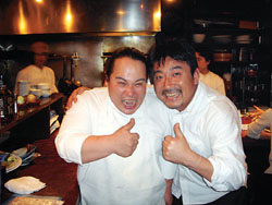 It's all about fish and friendly faces at Kaikaya in Shibuya, overseen by Ippei Takei (below left) and owner-chef Teruyuki Tange. | ROBBIE SWINNERTON PHOTO