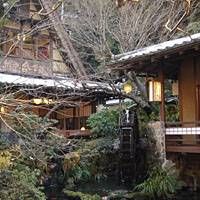 A rustic waterwheel in front of one of Ukai Toriyama's thatched-roof houses.