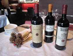 Premium wines from chef Frittoli's native Tuscany