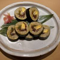 Roll on: Sobazushi (soba rolled in nori seaweed with egg, mushroom and greens) must be ordered in advance.