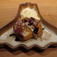 Meaty mollusk: Smoked scallop, served with a dip of chopped-onion 'mayo.'