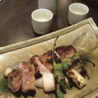 Charcoal-grilled chicken with yuzu-koshū (spicy citrus paste)
