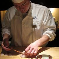 The sous-chef at Uchiyama stands in for its eponymous owner-chef, who can often be found at his other restaurant, Kaku-Uchiyama.