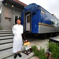Rightly chuffed: A Ta Gueule chef George Somura (above) has remodeled a retired deluxe railway car into the lounge (below) for the new incarnation of his restaurant; the modern dining area (bottom) is housed in an annex. | YOSHIAKI MIURA