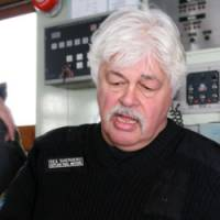 Close encounters: Sea Shepherd Conservation Society founder Paul Watson holds a bullet he claims hit him, which he says was fired by the Japanese Coast Guard during a clash between his group and the Japanese whaling vessel the Nisshin Maru, in March 2008. On Saturday, the Sea Shepherd's Bob Barker boat escaped with a gash down its hull after a collision with the Yushin Maru No. 3, but the group's Ady Gil vessel was not so lucky, sinking after its encounter with the Shonan Maru No. 2 ship last month. | AP/SEA SHEPHERD CONSERVATION SOCIETY