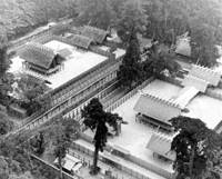Cycle of life: Ise Shrine, the most sacred site of Japanese Shintoism, as it enshrines the ancestory of the Japanese Imperial family, is seen in 1973 undergoing the traditional reconstruction ceremony. On the left is the old building, which will be demolished after the formal transfer to the newly-built shrine, on the right. | AP PHOTO