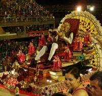 High point: Some 60,000 spectators watch the float of the samba school Unia~o da Ilha as it is paraded in Rio's Carnaval 2010 on Feb. 14. The school's theme this year was Don Quixote de la Mancha.