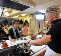 Master class: Silvena Rowe at work during a recent cookery demonstration in Tokyo. | YOSHIAKI MIURA PHOTO