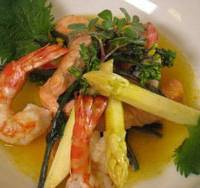 Fine fare: A dish of Silvena Rowe's sauteed masu (trout) with Hollandaise sauce and a garnish of shrimp and white asparagus. | SILVENA ROWE PHOTO