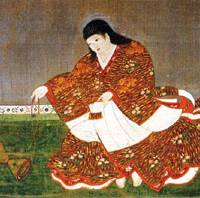A 12th century painting on silk of child-emperor Antoku, who drowned age 11 in a murder-suicide by his attendants as the Heike war went against them.
