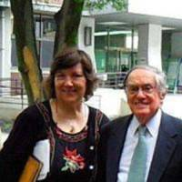 Carpenter poses with Japanese literature scholar Donald Keene at Doshisha Women's College in the city in July 2009.